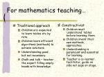 for mathematics teaching