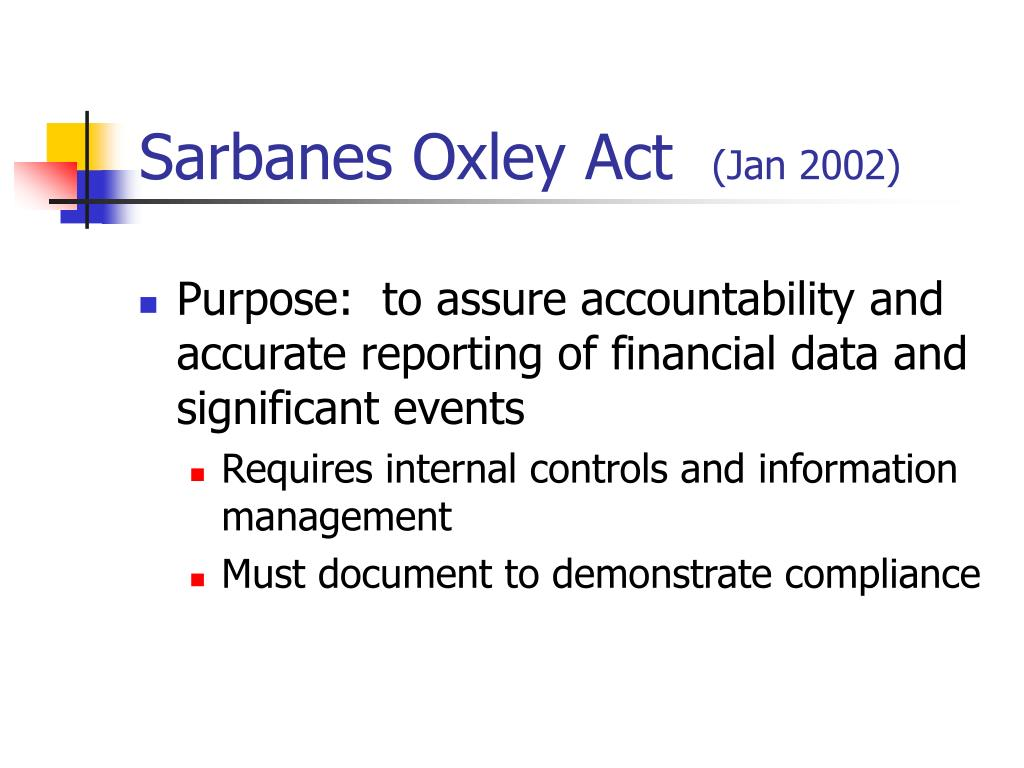 sarbanes oxley act of 2002 acc 290 Question acc 290 question question 1: what is the sarbanes-oxley act of 2002 why did it come about how have the new rules in the sarbanes-oxley act of 2002.