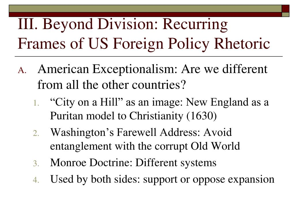 III. Beyond Division: Recurring Frames of US Foreign Policy Rhetoric