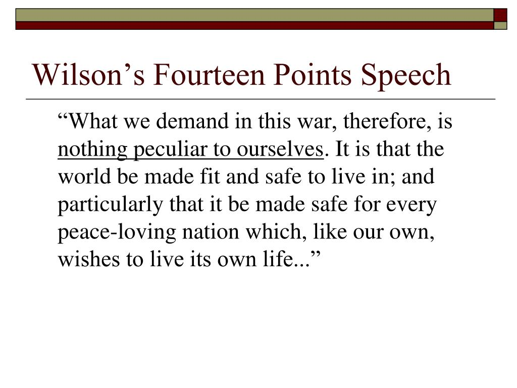 Wilson's Fourteen Points Speech