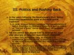 iii politics and pushing back