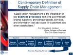contemporary definition of supply chain management
