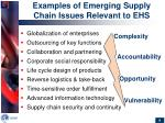 examples of emerging supply chain issues relevant to ehs