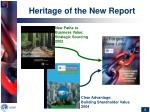 heritage of the new report