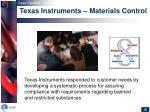 texas instruments materials control