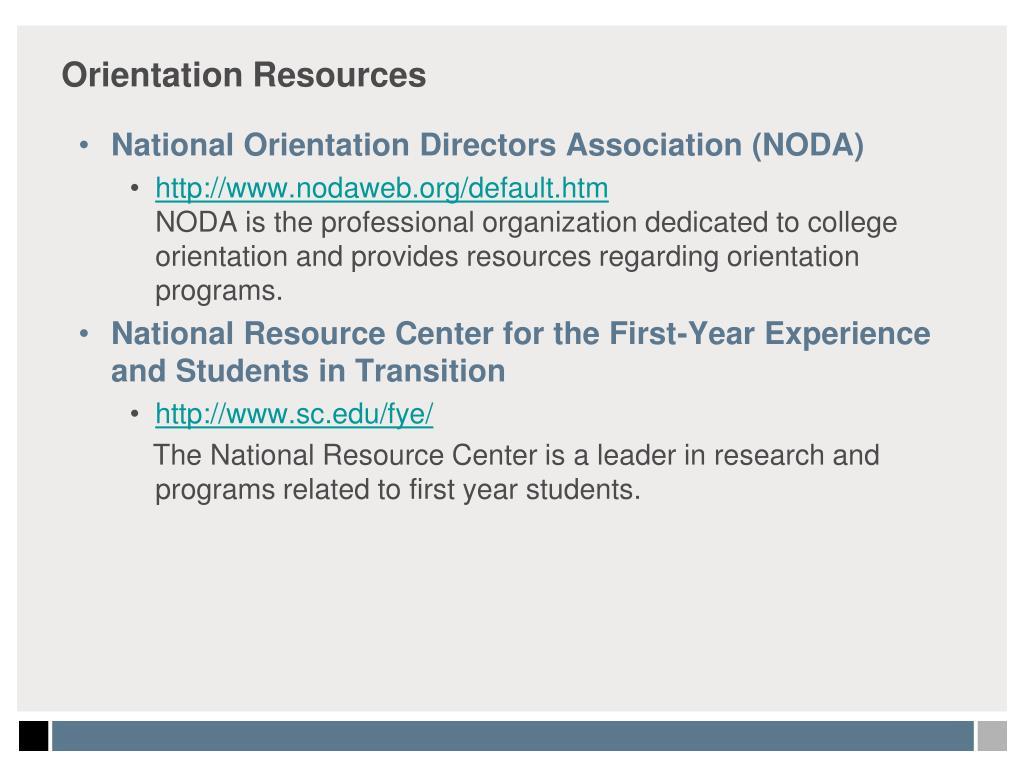 Orientation Resources