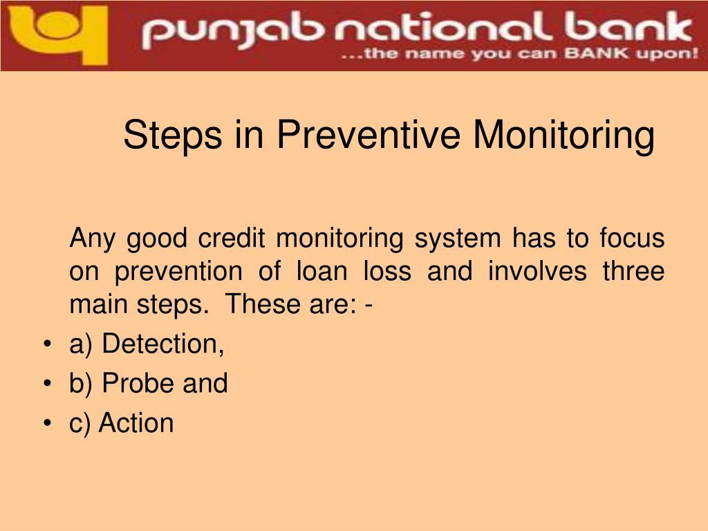 Steps in Preventive Monitoring