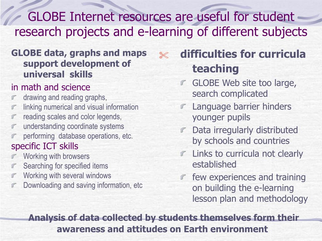 GLOBE data, graphs and maps support development of universal  skills
