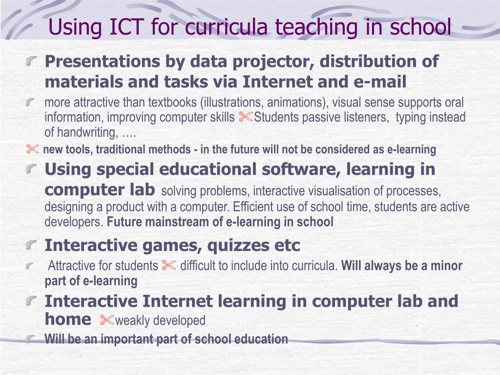 Using ICT for curricula teaching in school