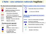 l italie une coh sion nationale fragilis e