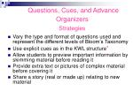 questions cues and advance organizers strategies