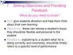 setting objectives and providing feedback what do you need to know