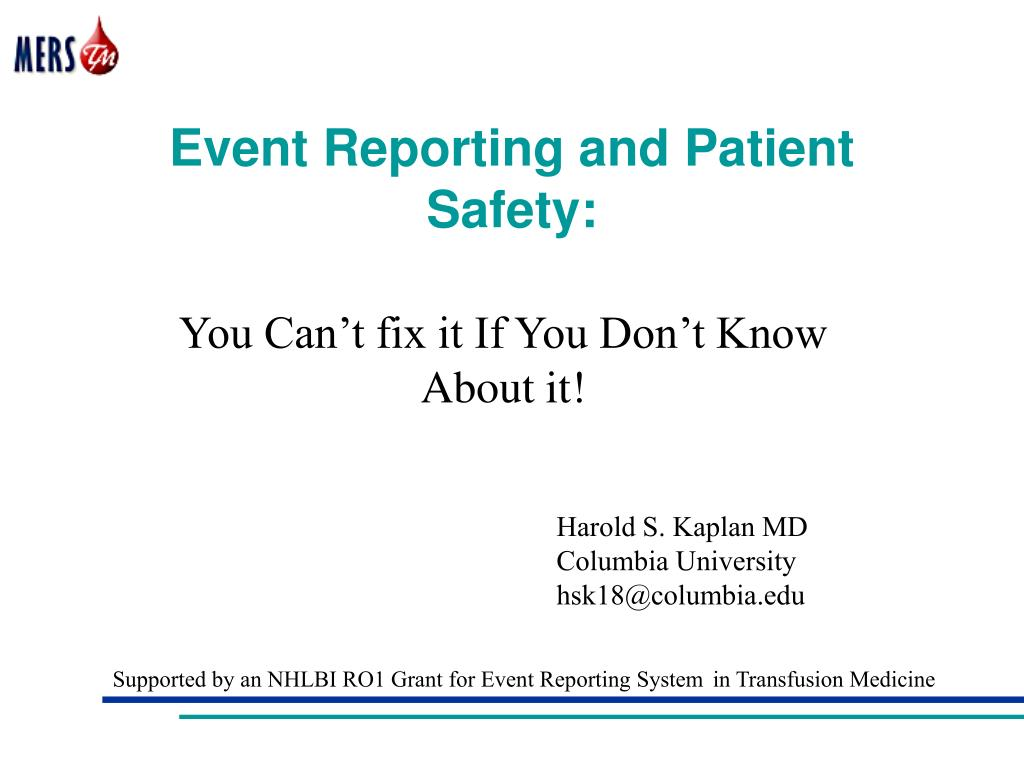 event reporting and patient safety l.