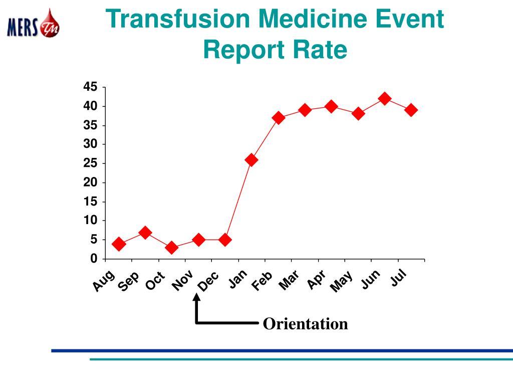 Transfusion Medicine Event Report Rate