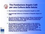 the fondazione angelo celli per una cultura della salute