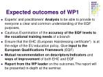 expected outcomes of wp1