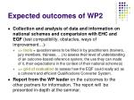 expected outcomes of wp2