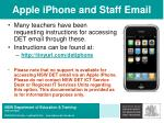 apple iphone and staff email
