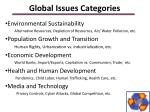 global issues categories