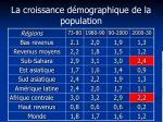 la croissance d mographique de la population