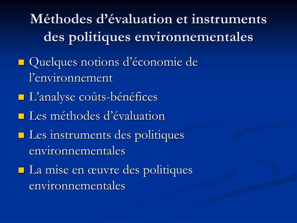 m thodes d valuation et instruments des politiques environnementales l.