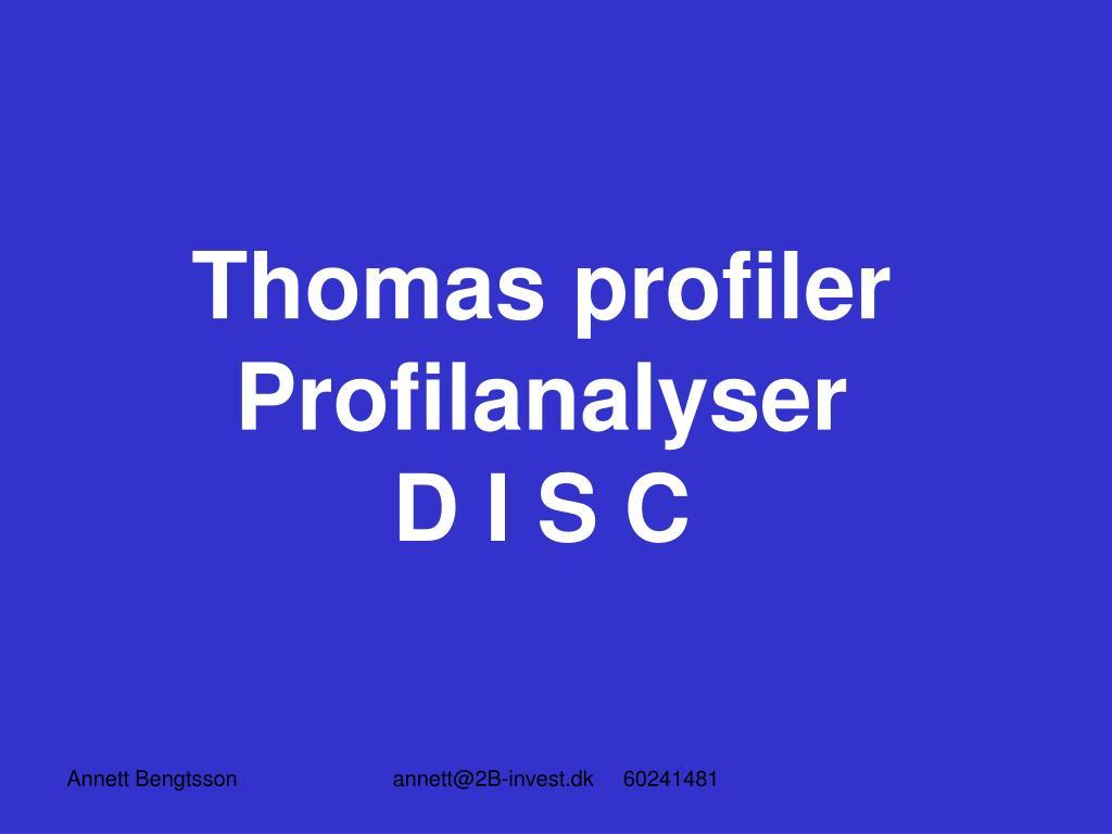 thomas profiler profilanalyser d i s c l.