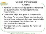 function performance criteria