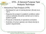 hta a general purpose task analysis technique