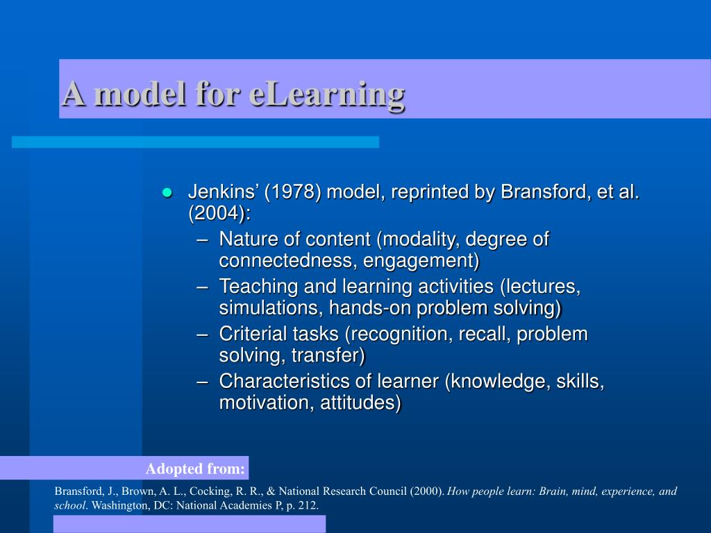 A model for eLearning