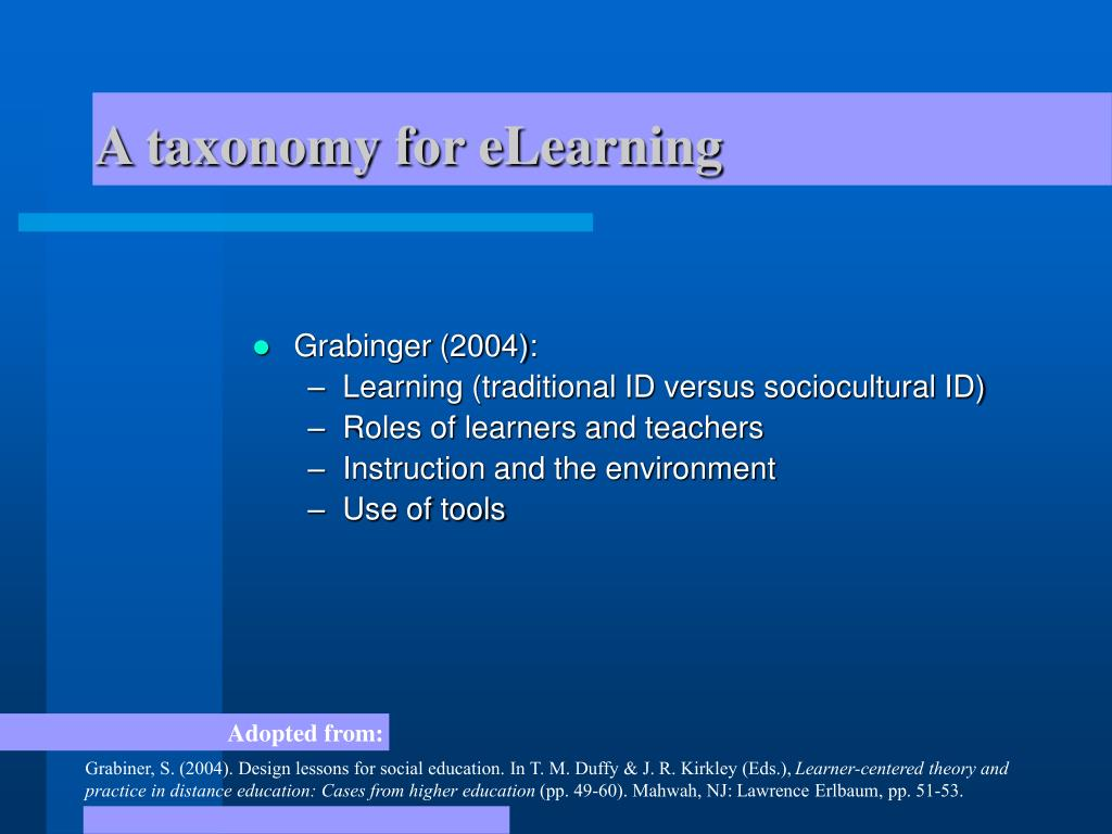 A taxonomy for eLearning