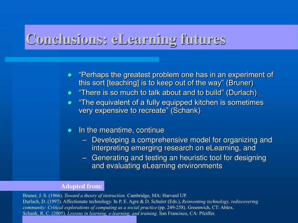Conclusions: eLearning futures