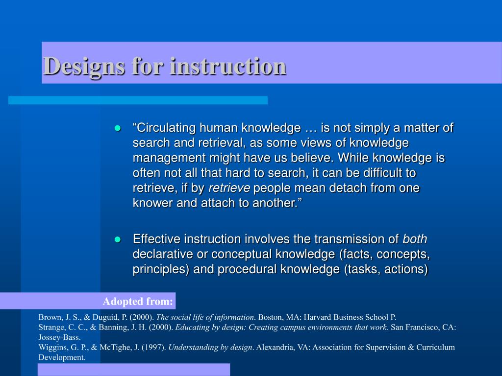 Designs for instruction