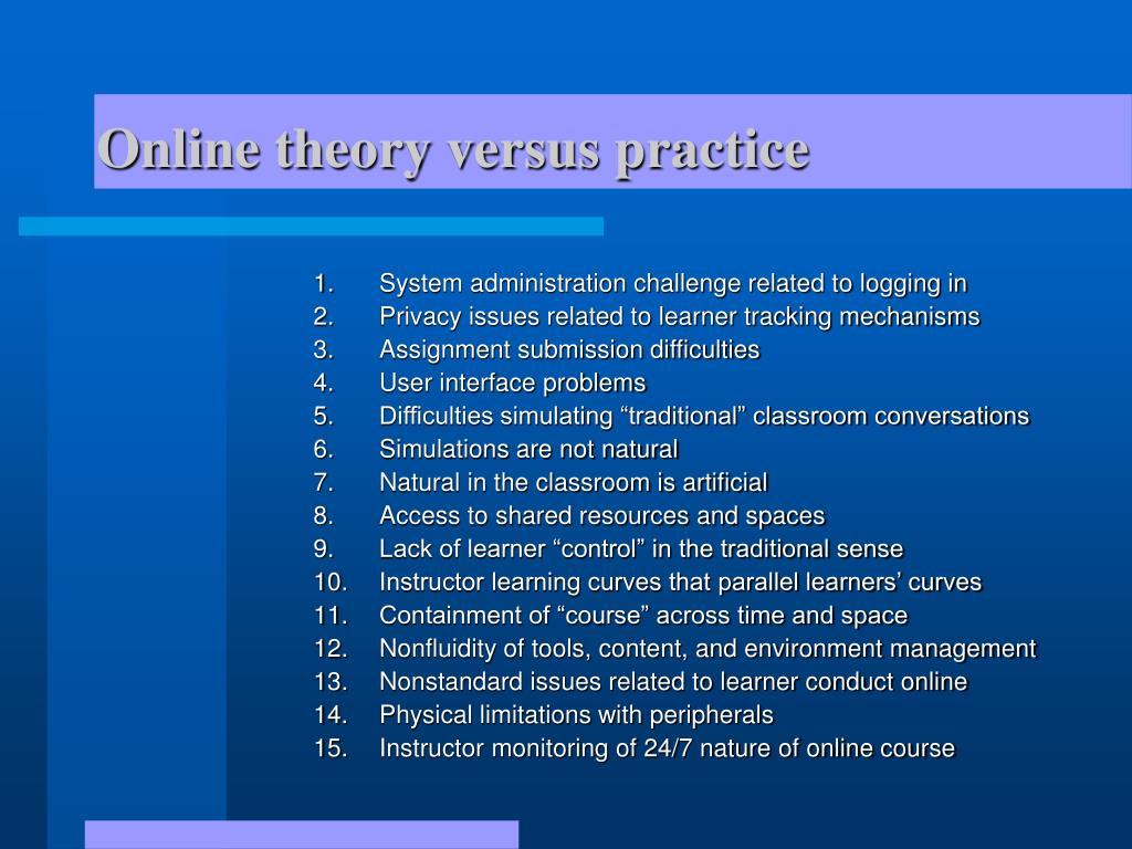 Online theory versus practice