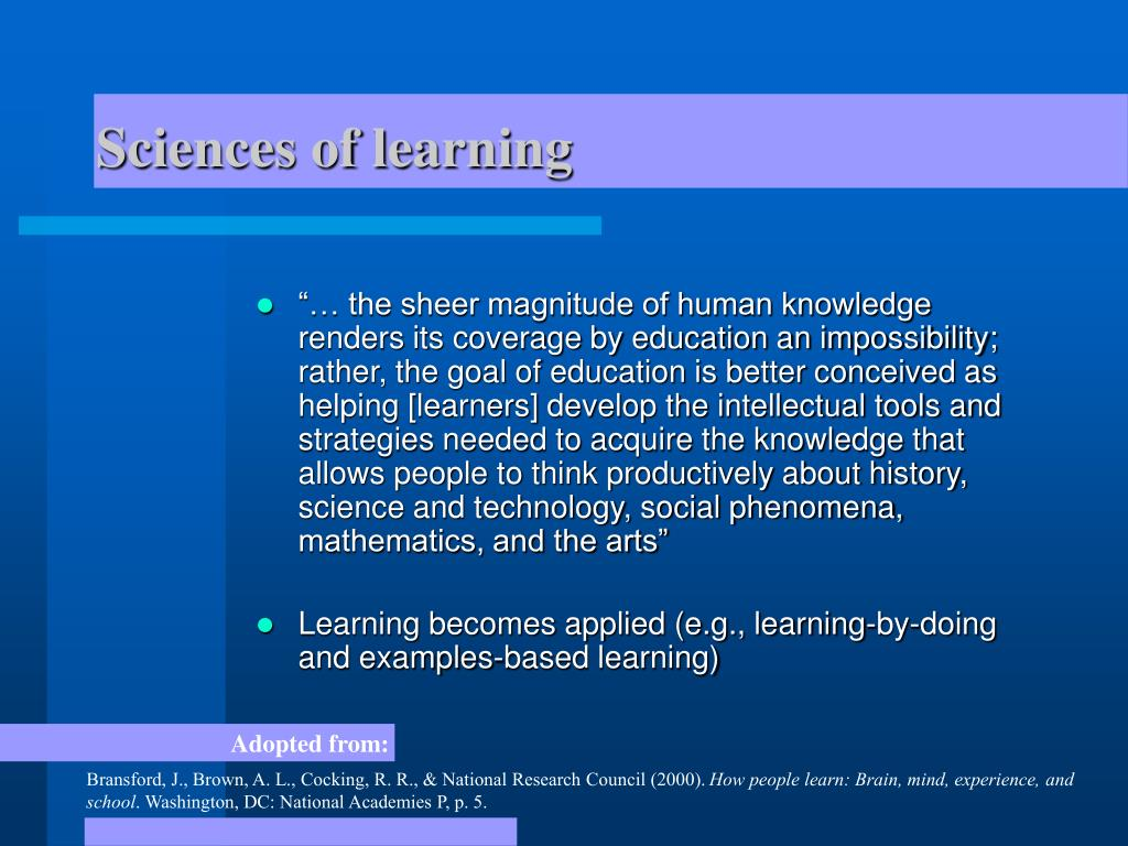 Sciences of learning