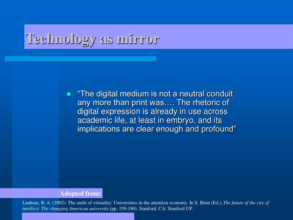 Technology as mirror