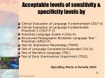 acceptable levels of sensitivity specificity levels by