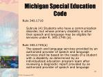 michigan special education code