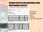 sample form for documenting early intervening services