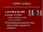 home conflicts
