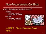 non procurement conflicts