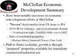mcclellan economic development summary