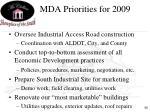 mda priorities for 2009