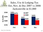 sales use lodging tax oct nov dec 2007 vs 2008 jacksonville in 1 000