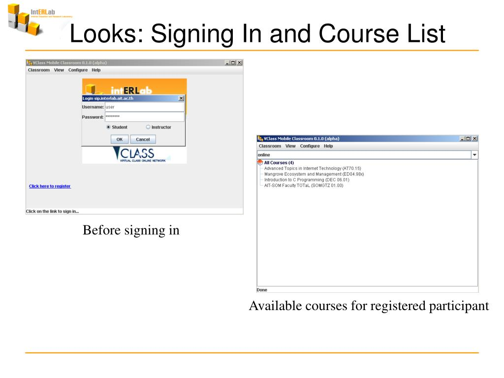 Looks: Signing In and Course List