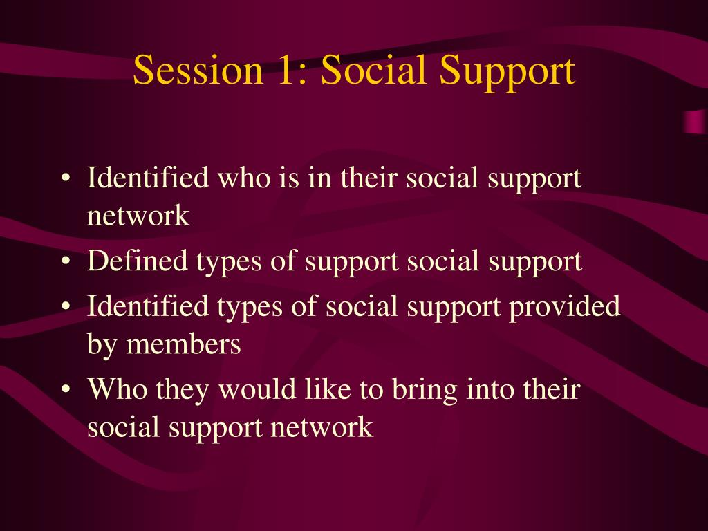 Session 1: Social Support
