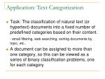application text categorization