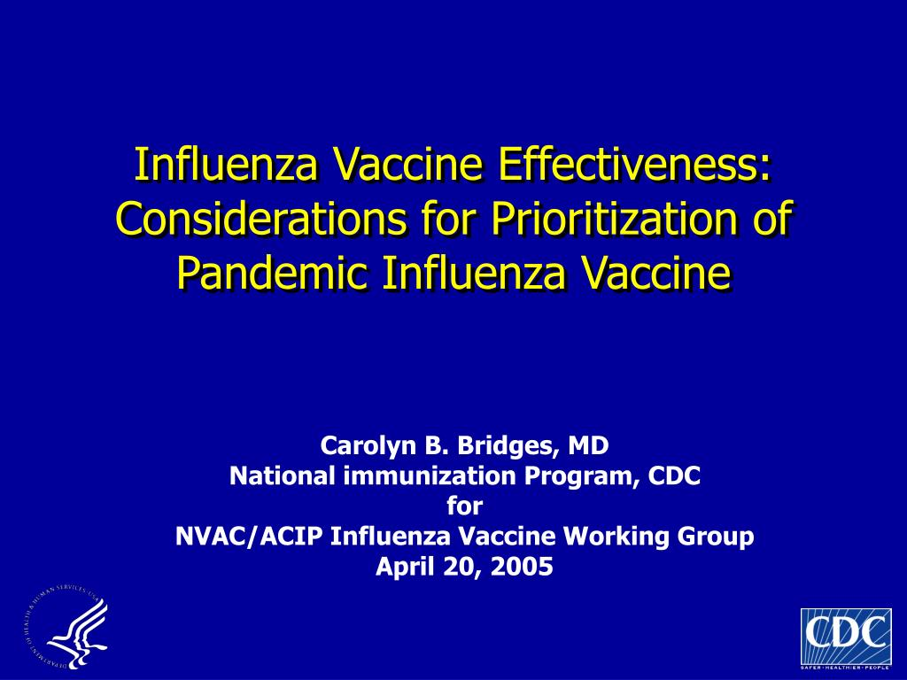 influenza vaccine effectiveness considerations for prioritization of pandemic influenza vaccine l.