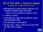 ve of tiv with 1 versus 2 doses ritzwoller dr pediatrics 2005 in press