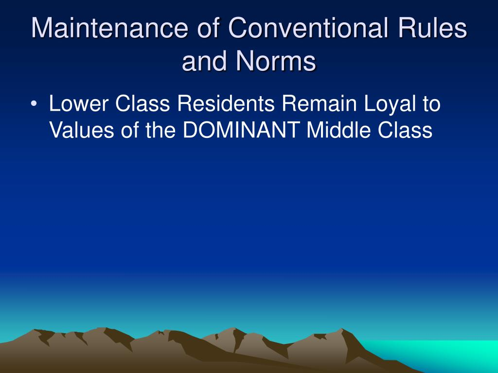 Maintenance of Conventional Rules and Norms