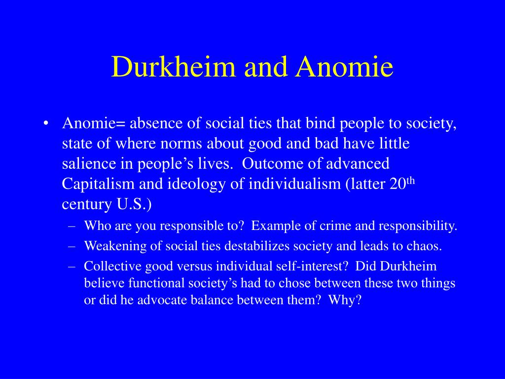 durkheim s theory of anomie vs marx s theory of alienation Weber's rationalization, and durkheim's anomie have in marx's alienation concept is rooted between different it's a shift on on marx's theory.